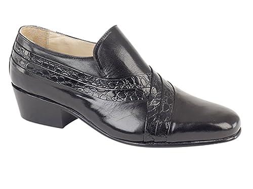 Zapatos de piel Para hombre con tacón cubano, de la marca Montecatini, color negro, sin cordones, color Negro, talla 12 UK: Amazon.es: Zapatos y ...