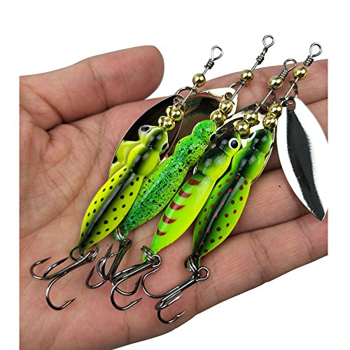 Salmon Fishing Spoons - 4pcs Spinner Baits Kit Metal Fishing Spoons with Treble Hooks Fishing Hard Lures Casting Sinking Lures for Bass Walleye Salmon Fishing