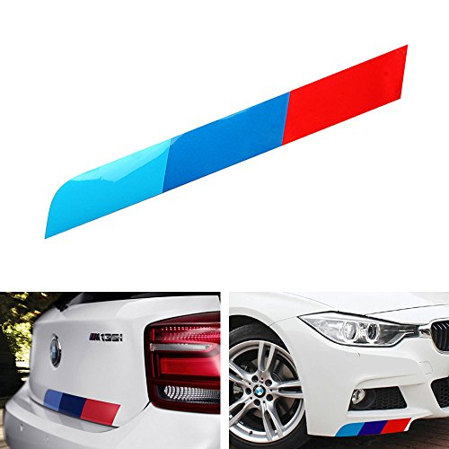 iJDMTOY (1) 17″x2″ Reflective M-Colored Stripe Decal Sticker For BMW Exterior Cosmetic, Such As Hood/Bonnet, Trunk, Side Skirt, Bumper, etc
