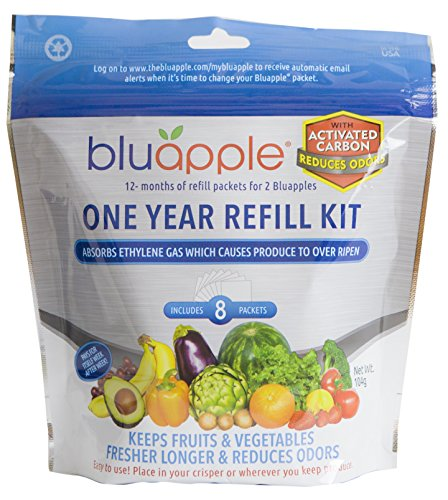 Bluapple One Year Refill Kit with Activated Carbon Keeps Produce Fresher Longer AND Absorbs Odors For Fresh Fruits and Vegetable Save Money Reduce Waste!