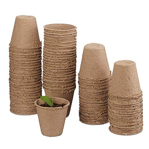 M-Aimee Plant Starter Peat Pots,Biodegradable Pots - 50 Pack of 3 Inch Transplant Seedlings Pots for Your Garden, Greenhouse or Nursery (8x8 cm, Beige) (50) ()