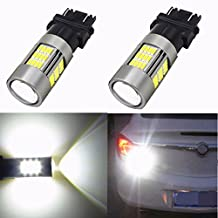 Alla Lighting 54-SMD 3157 3156 T25 Newest Version High Power 4014 Chipsets 6000K Xenon White Xtremely Super Bright Rear Brake Tail Light LED Bulbs Replacement