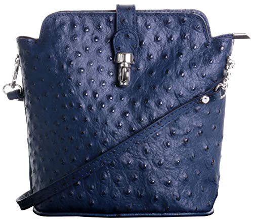 Italian Leather, Small Navy Blue Ostrich Effect Front Clasp Cross Body or Shoulder Bag Handbag. Includes a Branded Protective Storage - Bag Baguette Leather