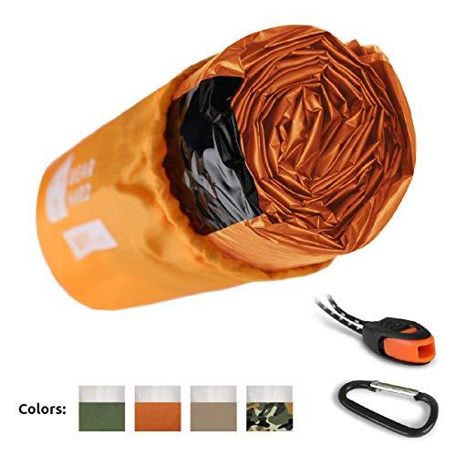 Bearhard Emergency Sleeping Bag Emergency Bivy Sack Ultralight Waterproof Thermal Survival Bivvy Cover with Heat Retention for Camping, Hiking & Emergency Shelter Orange ...
