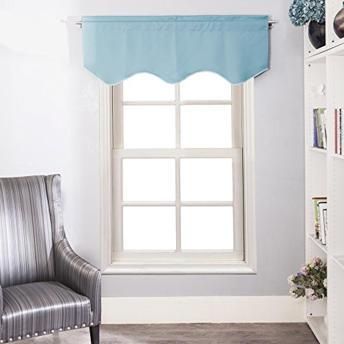 Kitchen Curtains Window Treatments Valance   Aquazolax Elegant Solid  Blackout Scalloped Valance Curtain Panel For Living Room, 52inch By 18inch,  Turquoise, ...