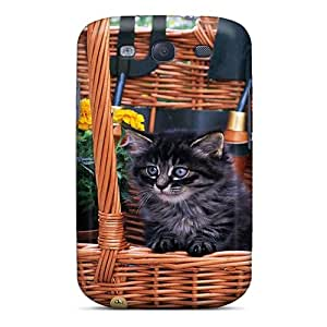 TBKXVdr2046EClMi Case Cover, Fashionable Galaxy S3 Case - A Kitten With Flowers In A Basket