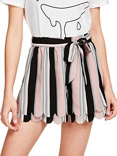 Tie Colorblock (Romwe Women's Mid Waist Self Tie Layered Scallop Hem Colorblock Striped Print Shorts Pink L)