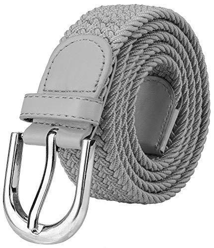 Falari Men Women Canvas Elastic Fabric Woven Stretch Braided Belt - Light Grey-Small (Women Grey Belt)