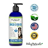Deley Naturals Wild Caught Fish Oil for Dogs – Omega 3-6-9, GMO Free – Reduces Shedding, Supports Skin, Coat, Joints, Heart, Brain, Immune System – Highest EPA & DHA Potency – Only Ingredient is Fish