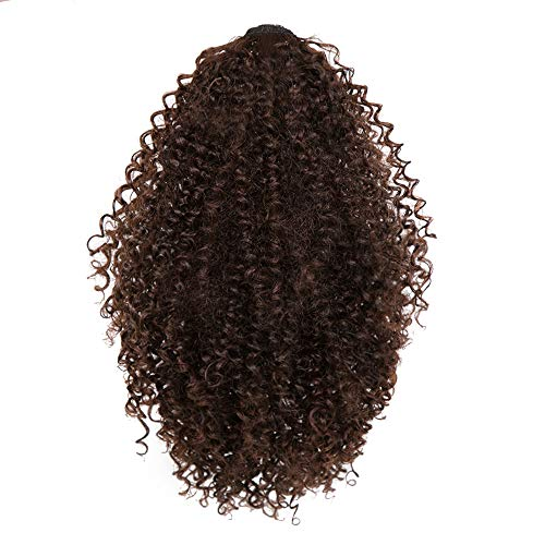 - Afro Ponytail Drawstring Extensions Natural Puff Hair Bun with Donut Chignon Hairpieces Wig Drawstring Afro Kinky Curly Wrap at 7 (short) or 14 (long) inches (14inch, Brown(4/33#))
