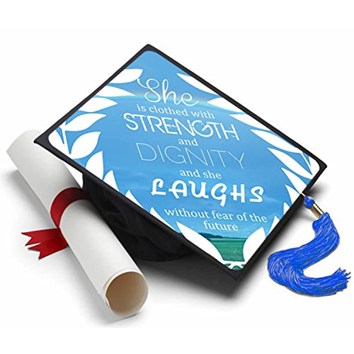 Tassel Toppers Proverbs 31:25 Graduation Cap Decorated Grad Caps - Decorating Kits ()