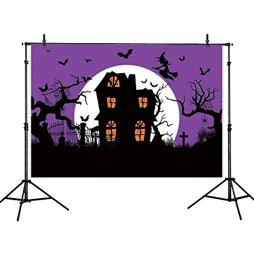 Funnytree 7x5ft Thin Vinyl Cartoon Halloween Backdrop Haunted Witch Cabin Dead Wood Graveyard Silhouette Full Moon Purple Sky Horror Night Background for Party Decoraiton Photography Photo Booth -