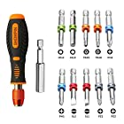 "Showpin 12 in 1 Color Ring Magnetic Screwdriver Set Multi-bit Phillips/Torx/Flathead/Hex/Pozi Head Screwdriver Set with 10 Bits and 1 1/4"" Hex Bit Holder ,Repair Tool for Home Appliances"