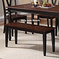 Poundex Contemporary Two Tone Finish Dining Room Bench, Cherry Black