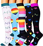 5 Pairs Compression Socks for Women Men 20-30mmhg