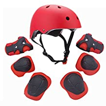 Kids Youth Sports Protective Gear Set with Helmet Elbow Knee Wrist Safety Pad Safeguard for Rollerblading Bicycle BMX Bike Skateboard Hoverboard and other Extreme Outdoor Activities