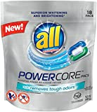 All POWERCORE Super Concentrated Laundry Detergent Pacs Plus Removes Tough Odors, 18 Count