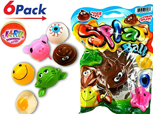 (JA-RU Splat Ball Sticky & Stretchy (Pack of 6) and 1 Bouncy Ball Egg, Eye, Poo, Frog, Emoji & Pig. 5303-6p)
