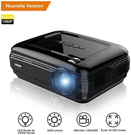 Projector, LESHP HD 1080P HD 3200 LED Lumens Mini LCD Theater ...
