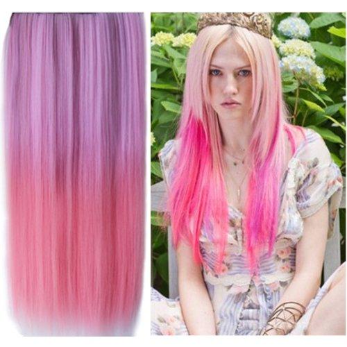 Uniwigstm ombre dip dye color clip in hair extension 60cm length uniwigs ombre dip dye color clip in hair extension 60cm length pink color straight pmusecretfo Choice Image