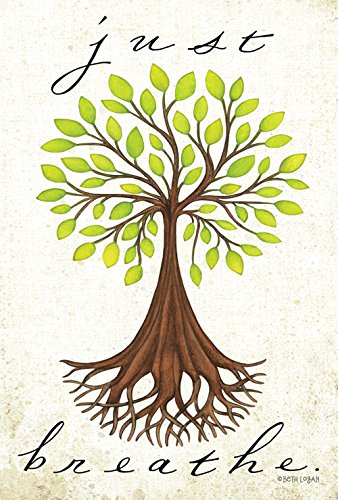 Toland Home Garden Just Breathe 12.5 x 18 Inch Decorative Inspirational Earth Tree Roots Garden Flag