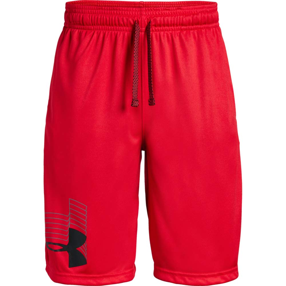 Under Armour boys Prototype Logo Shorts, Red (600)/Black, Youth X-Small