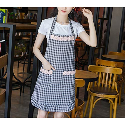 Kitchen Supplies Cotton Fashion Adult Plaid Smock Apron Waterproof and Oil-Proof Anti-Wearing Women Tool Accessories (Color : Black, UnitCount : 2PCS)