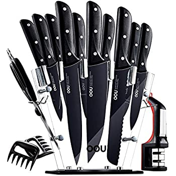 Amazon.com: Stainless Steel Knife Set with Block - 13 ...