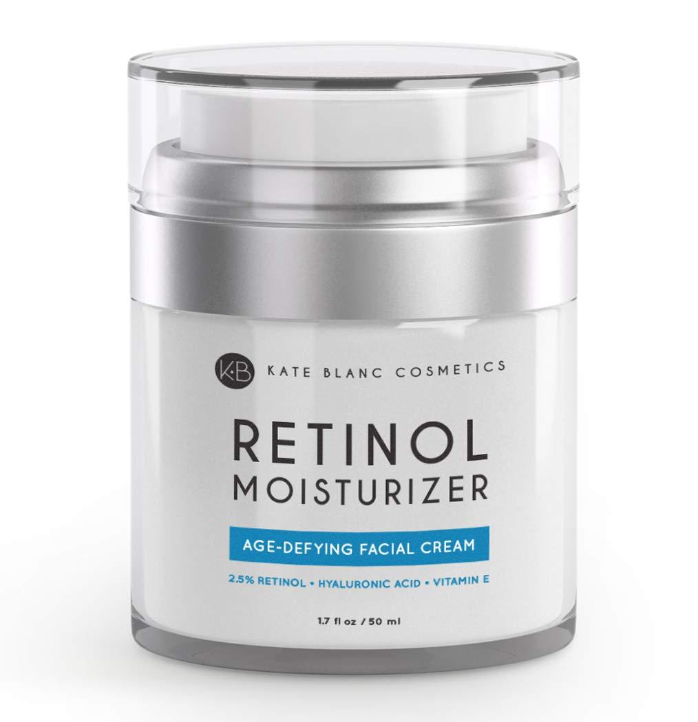 Retinol Cream Moisturizer for Face, Eye Area & Oily Skin (1.7oz) by Kate Blanc. Includes 2.5% Active Retinol, Hyaluronic Acid, Vitamin E, B5. Anti-aging, Reduce Fine Lines, Wrinkles, Dark, Sun Spots by Kate Blanc Cosmetics