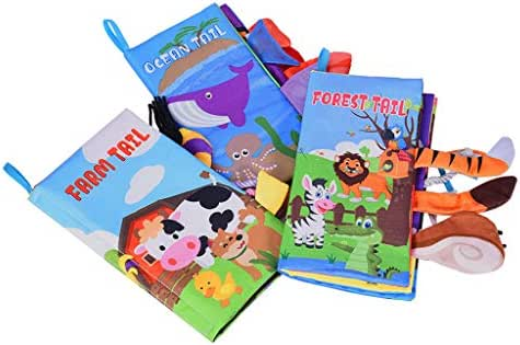 Fine Soft Book(Set of 3/6), Nontoxic Fabric Baby Cloth Activity Crinkle Soft Books Gift,Colorful Cloth Bookfor Infants Boys and Girls Early Educational Toys