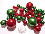 80 Jumbos and Assorted Sizes Holiday Christmas Green Pearls and Red Pearls Vase Fillers Value Pack - NOT INCLUDING THE TRANSPARENT WATER GELS FOR FLOATING THE PEARLS (SOLD SEPARATELY)