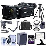 Canon VIXIA HF G40 3MP Full HD Camcorder, 20x Optical Zoom - Bundle with Video Bag, Filter Kit, 64GB Class 10 SDXC, Spare Battery, Video Light, Shotgun Mic, Cleaning Kit, Two Shoe V-Bracket, Tripod