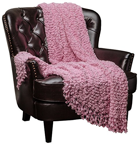 Chanasya Super Soft Beautiful Elegant Decorative Woven Popcorn Texture Couch Bed Pink Throw Blanket With Ball Fringe- Pink