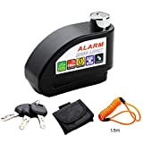 ELE KING Disc Brake Lock,Anti-theft Motorcycle Alarm Disc Lock,Waterproof 110dB Alarm Sound and 6 mm Pin Brake Disc Wheel Security Lock with 1.5m Reminder Cable for Motorcycles Bicycles(Black)