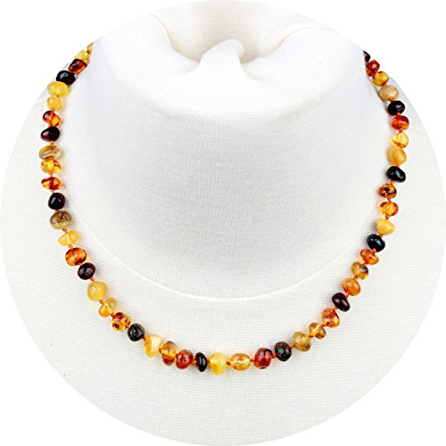 Baltic Amber Necklace for Adult (Unisex, Multicolor, 18 Inches) Lab-Tested, 100% Certified Baltic Amber - All Natural Pain Relief & Anti-Inflammatory for Migraine, Sinus, Arthritis & More!