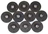 "3/4"" Malleable Iron Pipe Floor Flange Threaded Fitting, Black- Pack of 10"