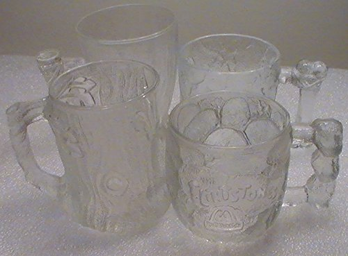 Flintstone McDonald 1993 Frosted Glass Mugs - Set of 4