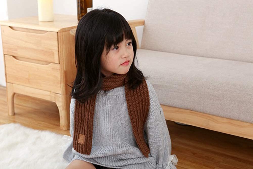 Unisex Girls Boys Kids Winter Warm Knit Scarves Fashion Solid Color Cable Scarf