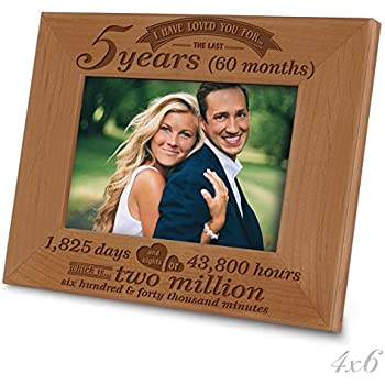 5th anniversary 5 years months days hours weeks minutes engraved natural wooden picture frame 4 x 6 horizontal