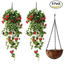 Artificial Fake Hanging Basket Decorative Plant, High Simulation Rose Wall Hanging Balcony Decor Artificial Flower Vine Pot Bonsai Set Red