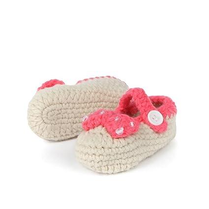 ainiour® Unisex Bebé Cuna ganchillo hecho a mano calcetines de punto lazo de zapatos de
