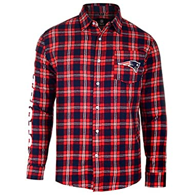 KLEW NFL New England Patriots Wordmark Basic Flannel Shirt, XX-Large, Blue