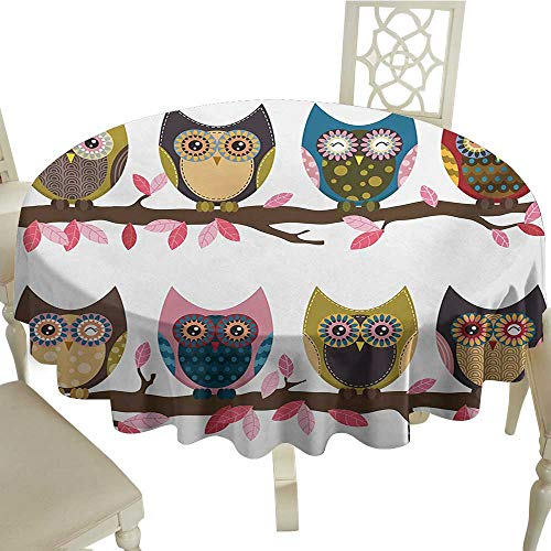 Zodel Waterproof Tablecloth Owls Group of Owls Cute Facial Expressions Winking Smiling Vintage Scrapbooking Retro Art Table Decoration D54 Suitable for picnics,queuing,Family ()
