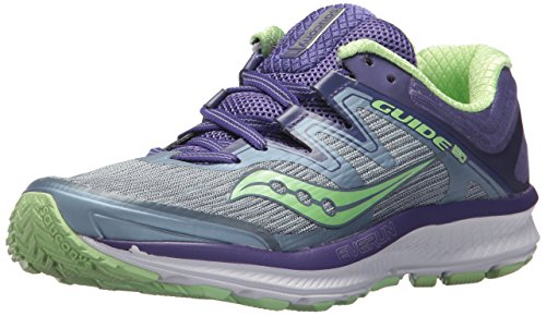 Saucony Women's Guide ISO Running Shoe, Fog/Purple, 8 Wide US (Best Glue For Running Shoes)