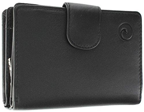 Hochwertige Damen Geldbörse Leder mit RFID-Schutz, 11Für Kreditkarten, Notizen und Münzen in 6Farben, in Geschenkverpackung Schwarz