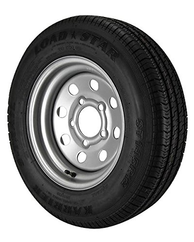 ST145/R12 Loadstar Trailer Tire LRE on 5 Bolt Silver Mod Wheel - Heavy (Heavy Duty Trailer Wheels)