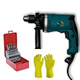 Tools Centre Powerful 800W Impact 13mm Hammer Drill Machine With Speed Control & Reverse Forward Button With Free 26pcs Hss Drill Bit Set Combo