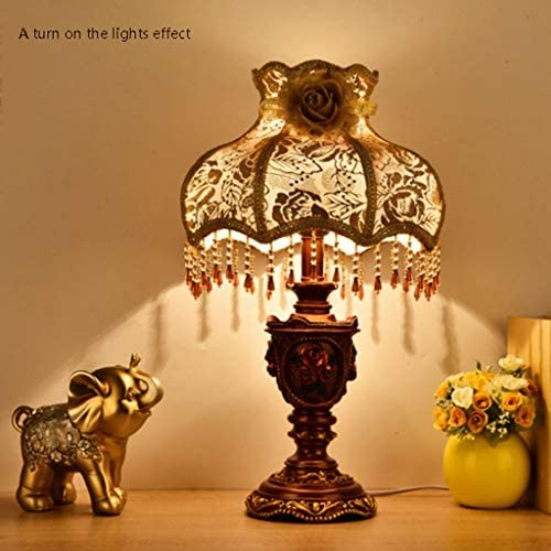 Table lamp European Retro Table Lamp Bedroom Bedside Lamp Warm Creative Classic Nostalgic Lamp Household Lamp E27 Eye protection desk lamp (Color : A, Size : Dimming switch)