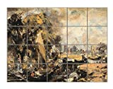 Dedham Lock (Constable) Horizontal Tile Mural Satin Finish 24''Hx30''W 6 Inch Tile