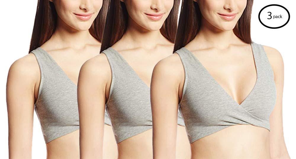 Lamaze Womens 3 Pack Cotton Spandex Sleep Bra for Nursing and Maternity Heather Grey 2X-Large